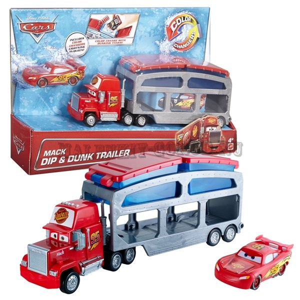 CKD34 Disney Cars Colour Changer Mack Transporter Toy Mack Dip & Dunk Trailer MATTEL CARS