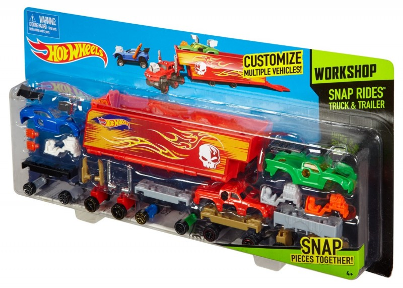 CDY04 / DFH62 Hot Wheels Snap Rides Truck and Trailer, Red