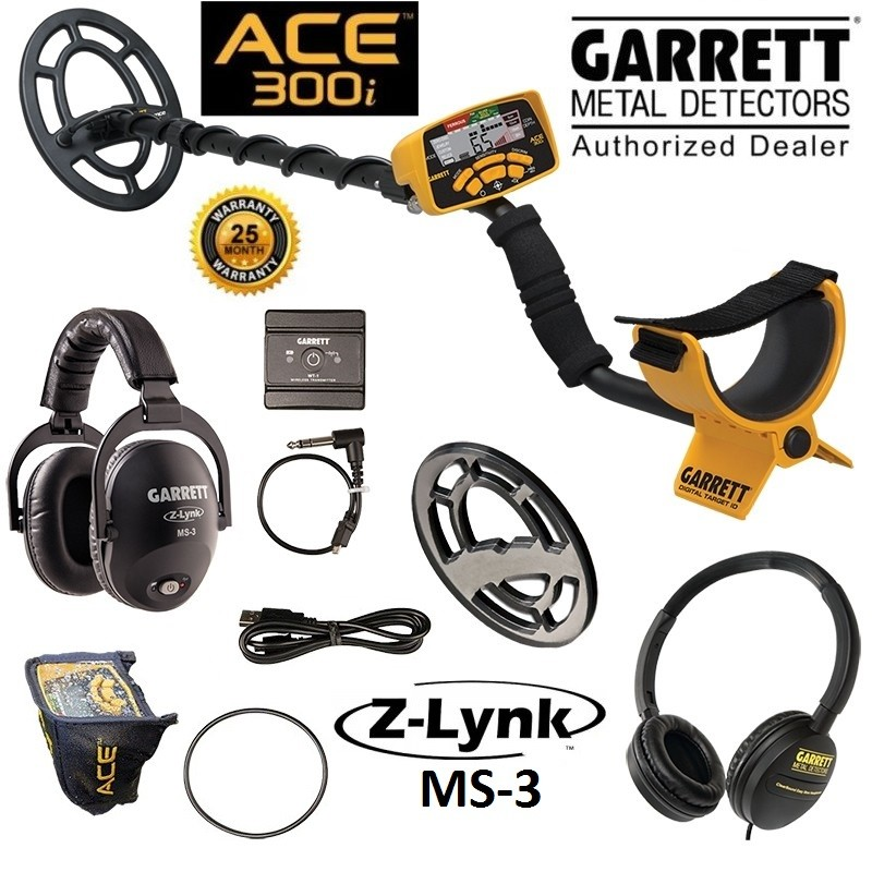 Garrett Ace 400i Metal Detector GARRETT 1141560 With Z-lynk 1627720 MS-3  GARRETT Wireless Audio Sys