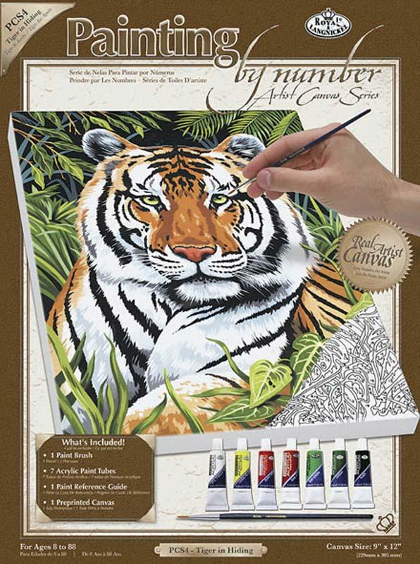 ROYAL BRUSH PCS4 Galda spēle Hobby Zīmējam pēc numuriem Tiger in Hiding