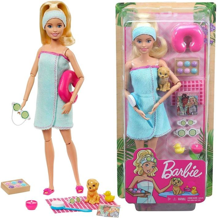 GJG55 Barbie Spa Doll, Blonde, with Puppy and 9 MATTEL SPA procedūras Blondīne